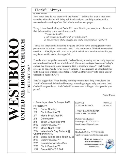 February 2015 Westboro United Methodist Church - Midland Ohio