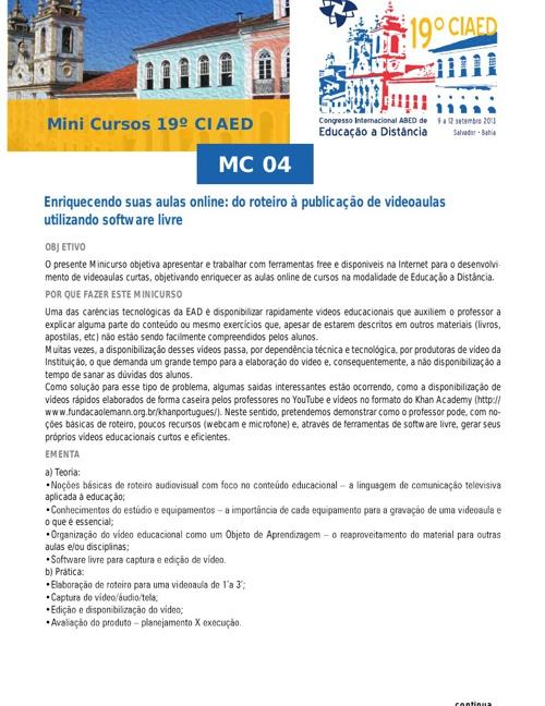 Agenda de Cursos 2013