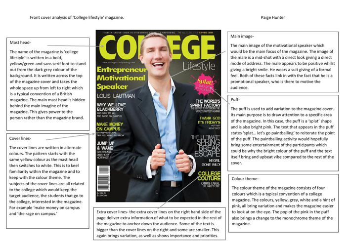 college magazine cover analysis completed