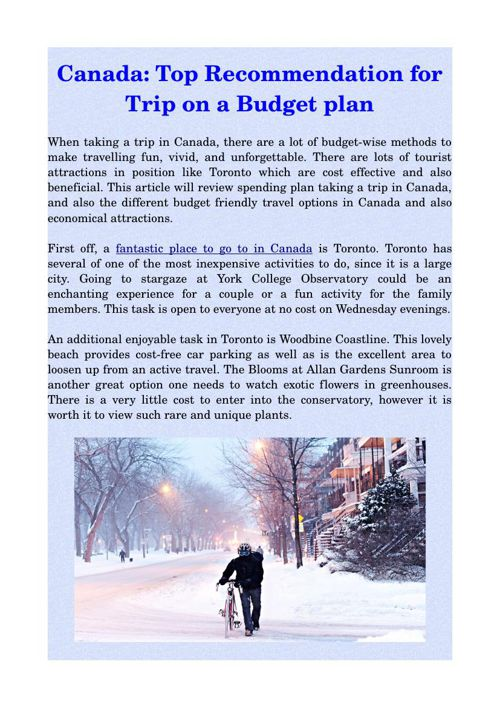 Canada: Top Recommendation for Trip on a Budget plan