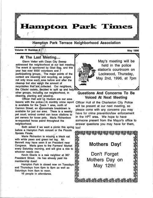 HPT Newsletter May 1996