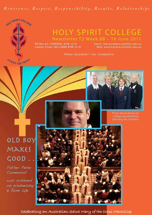 Holy Spirit College Newsletter T2 W8B 16 June 2011