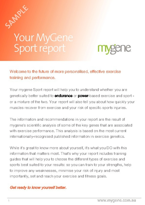 Sports Gene Exercise and Sports Test Sample Report