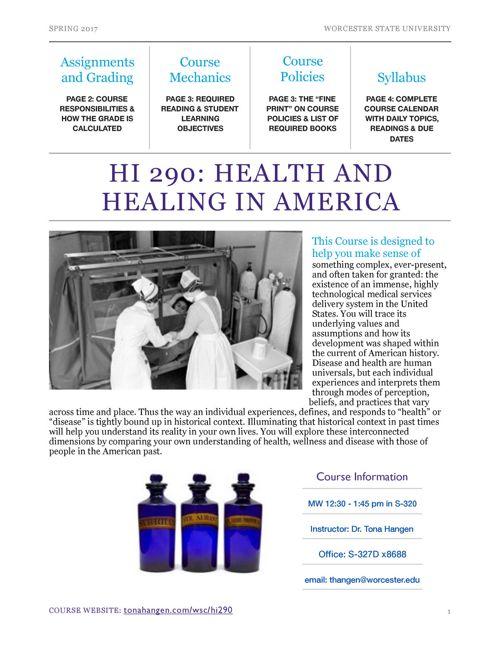HI 290 Health and Healing in America