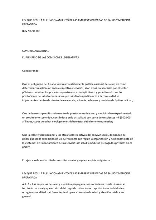 LEY QUE REGULA EL FUNCIONAMIENTO DE LAS EMPRESAS PRIVADAS