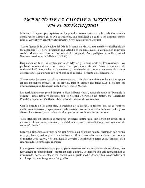 IMPACTO DE LA CULTURA MEXICANA EN EL EXTRANJERO