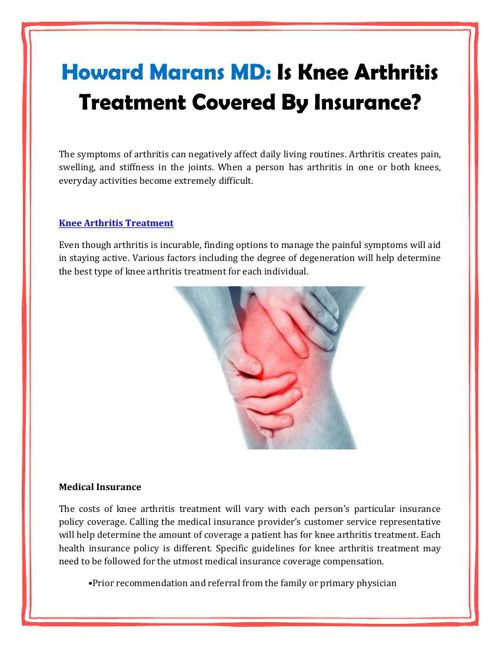 Howard Marans MD: Is Knee Arthritis Treatment Covered By Insuran