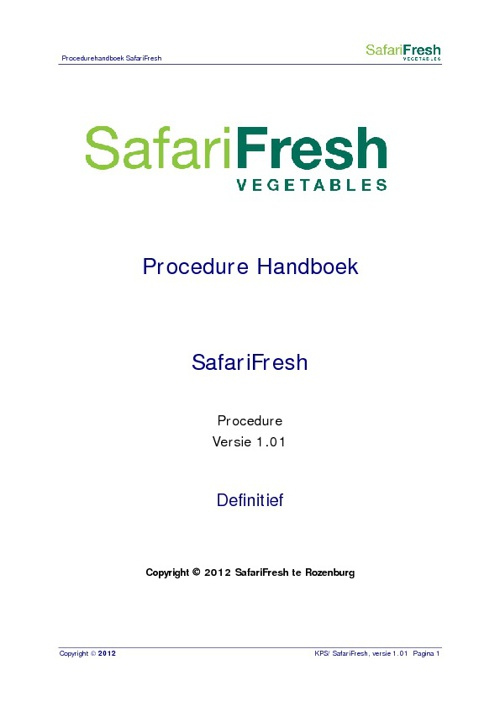 Safarifresh Quality book