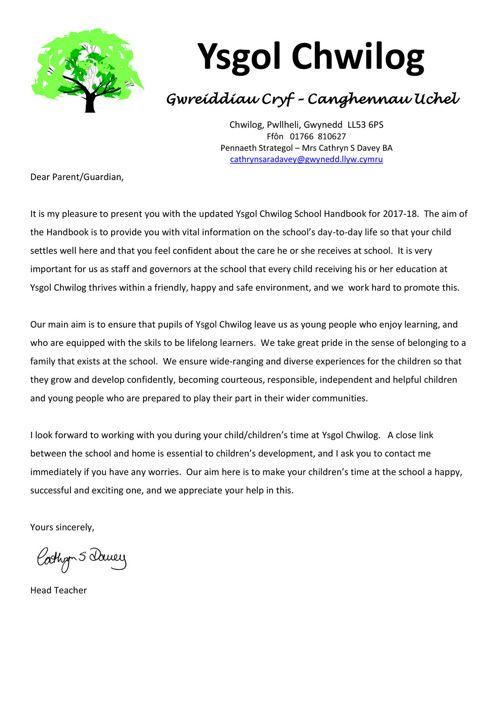 School Handbook Ysgol Chwilog 2017-18