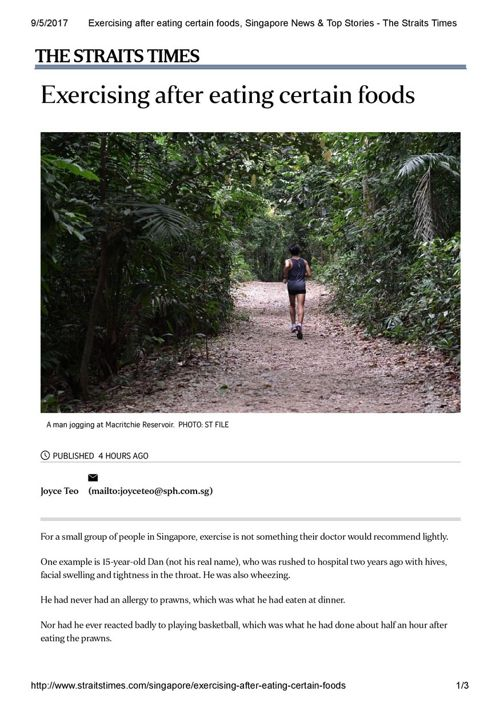 Exercising after eating certain foods, Singapore News & Top Stor