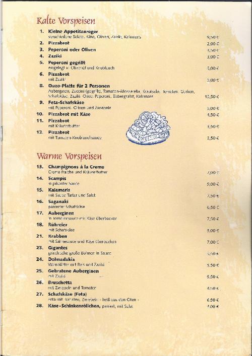 Speisekarte Restaurant-Korfu