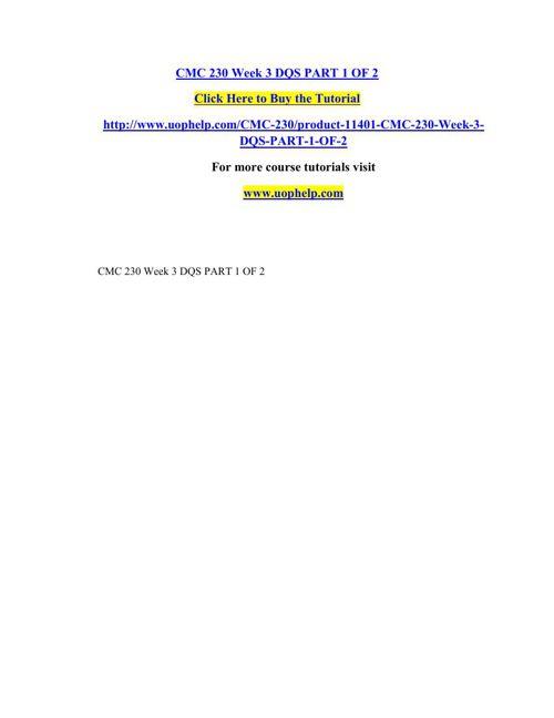 CMC 230 Week 3 DQS PART 1 OF 2