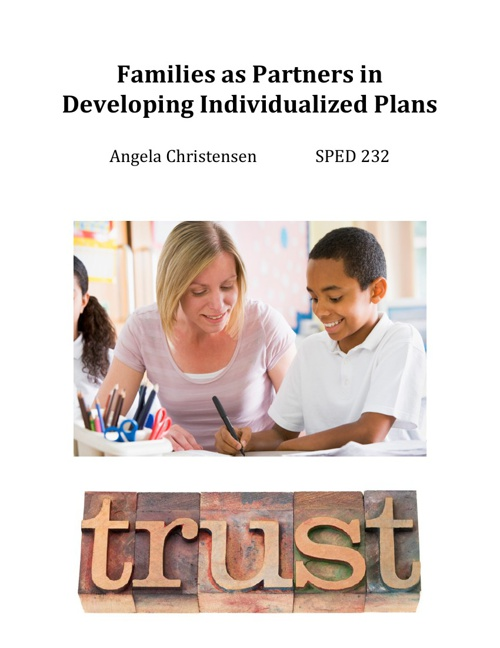 Families as Partners in Developing Individualized Plans