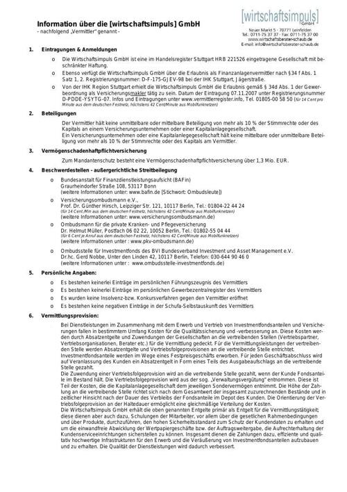 Informationen über die Wirtschaftsimpuls GmbH
