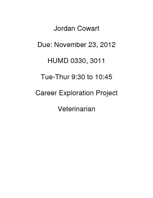 Jordan Cowart Career Project