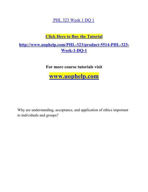 PHL 323 Academic Coach/uophelp