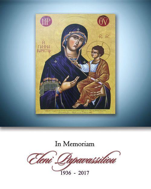 Memorial Card for Eleni Papavassiliou