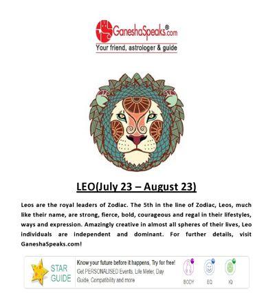 Leo - Get Leo daily Horoscope Online at Ganeshaspeaks.com