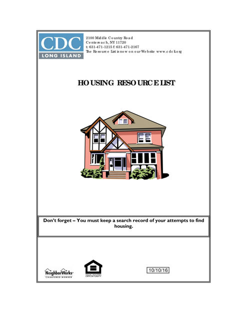Housing Resource Booklet 10.10.16