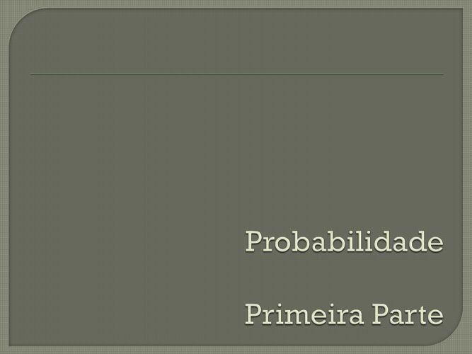Probabilidade Portfólio Pessoal