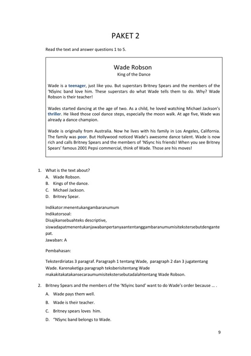 Soal dan Pembahasan Bahasa Inggris SMP