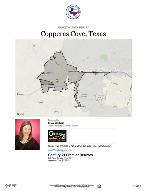 Market Activity Report Copperas Cove, Texas as of 2/13/17