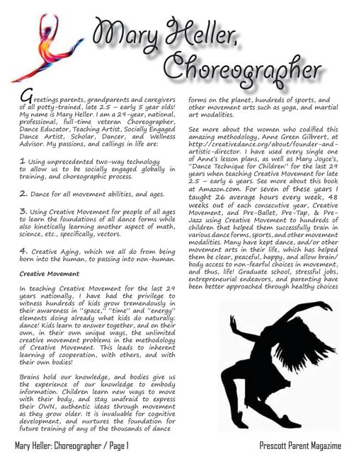 Mary Heller, Choreographer - Prescott Parent Magazine