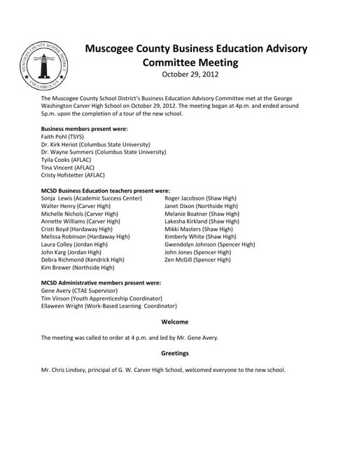 Bus Ed Adv Committee Minutes - 10-29-12