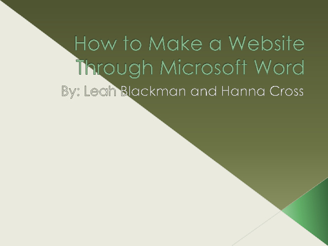 How to Create a web folder
