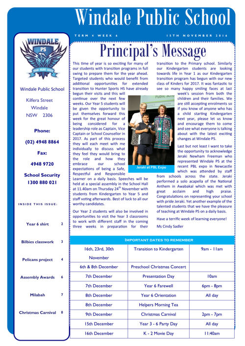 Newsletter Term 4 Week 6