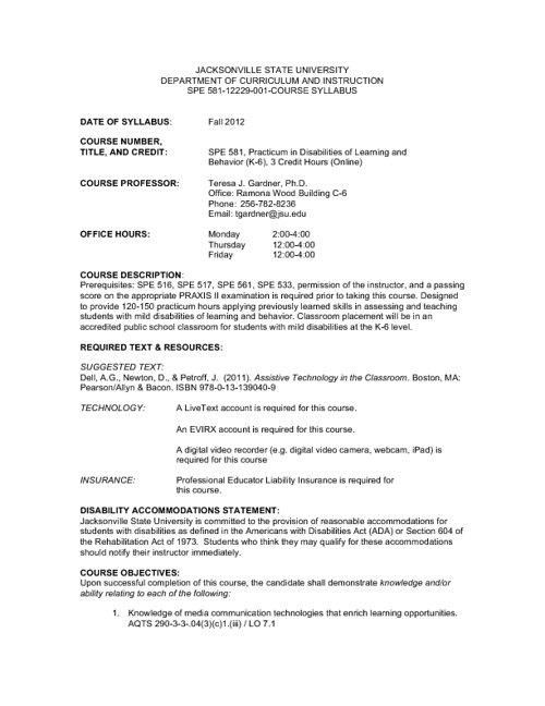 SPE 581 Course Syllabus and Outline
