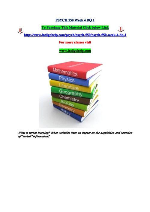 PSYCH 550 Week 4 DQ 1