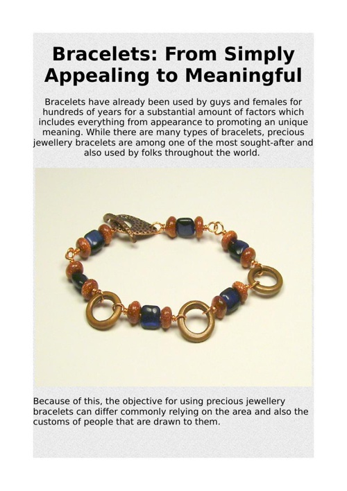 Bracelets: From Simply Appealing to Meaningful