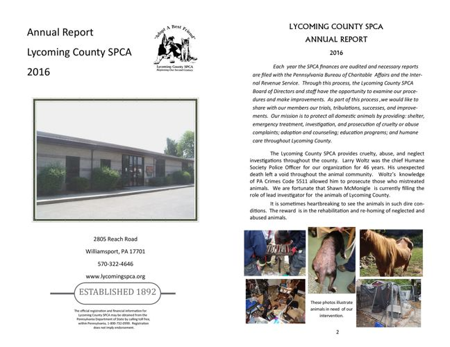 2016 Annual Report - Lycoming County SPCA