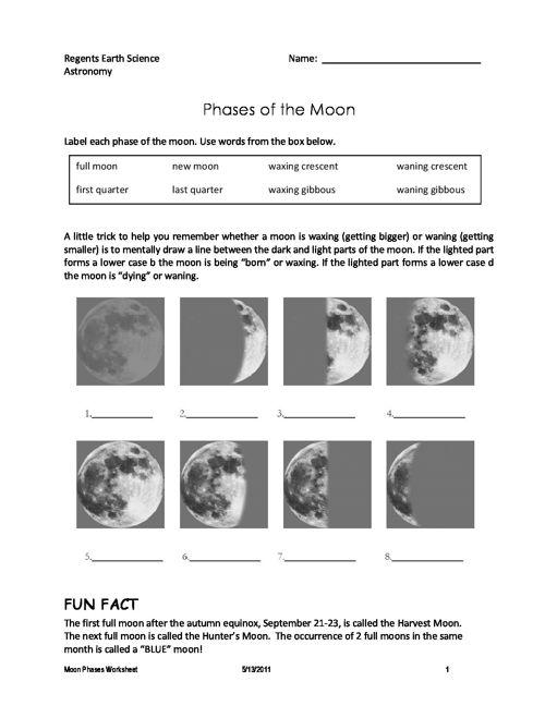 Moon Phases Worksheet