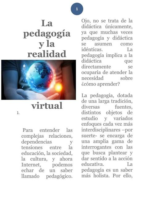 La pedagogía y la realidad virtual