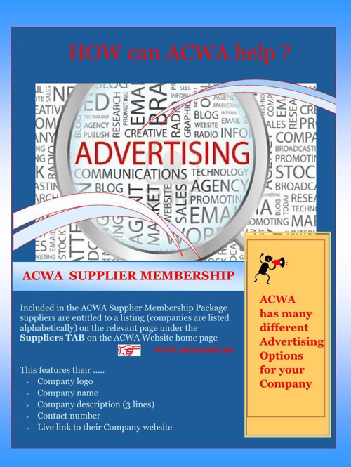 ACWA Suppliers - Your Advertising Opportunities