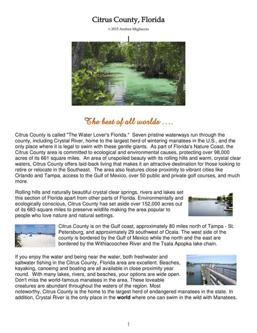 ALL ABOUT CITRUS COUNTY, FLORIDA