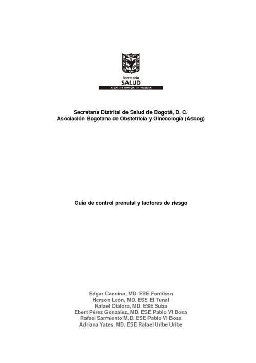 GUIA  CONTROL PRENATAL Y FACTORES DE RIESGO