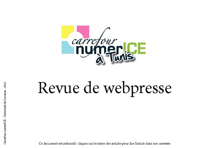 Carrefour numerICE à Tunis / revue de webpresse