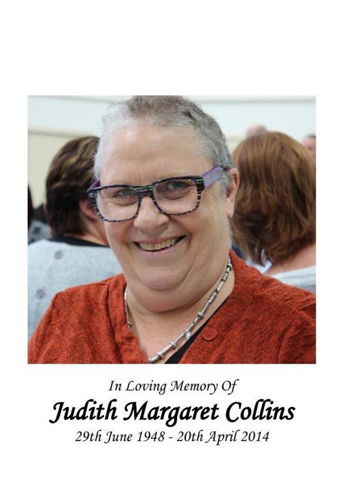 Memorial Card for Judith Margaret Collins