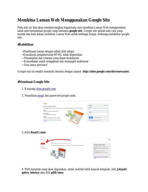 Membina Laman Web Menggunakan Google Site