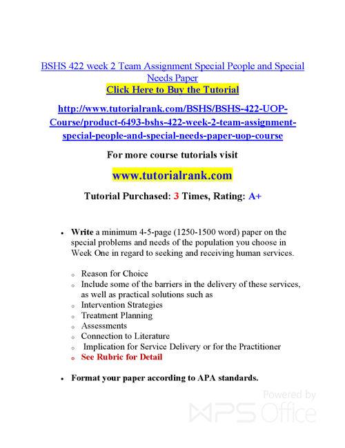 BSHS 422  Course Success Begins / tutorialrank.com