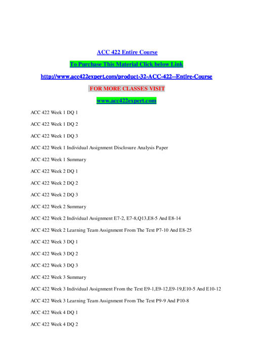 ACC 422 Entire CourseACC 422 EXPERT TEACHING EFFECTIVELY / acc42