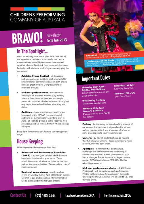 CPCA - Term Two Newsletter 2013