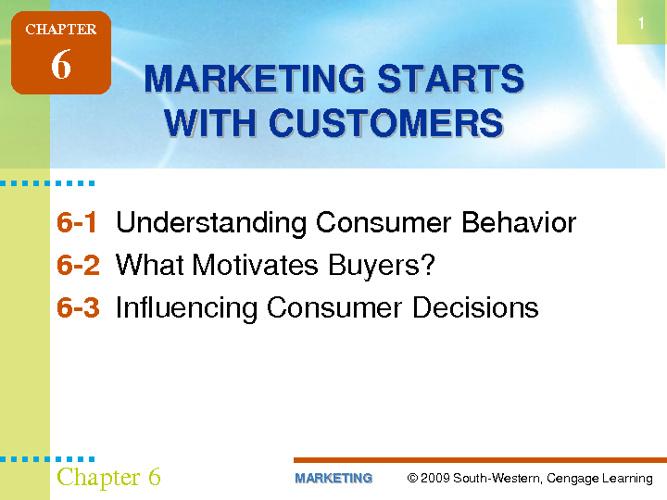 Understanding Consumer Behavoir
