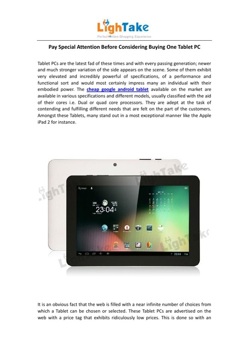 Pay Special Attention Before Considering Buying One Tablet PC