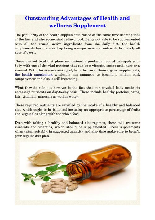 Outstanding Advantages of Health and wellness Supplement