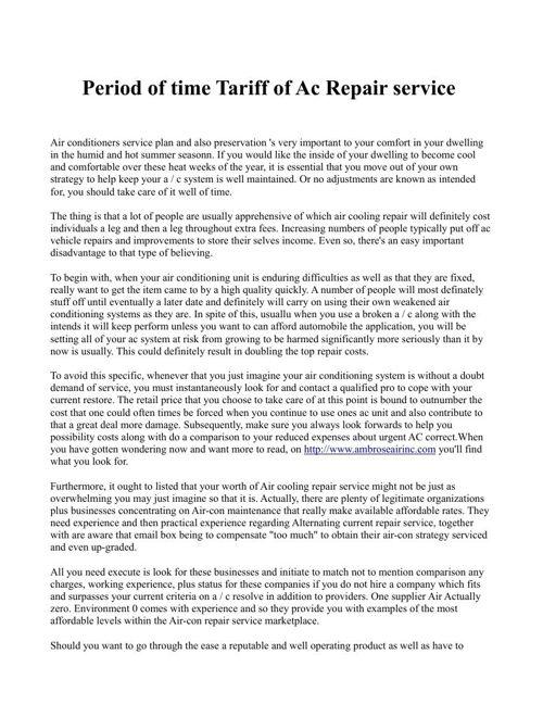 Period of time Tariff of Ac Repair service