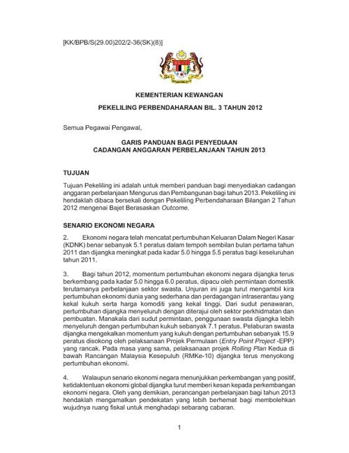 PEKELILING PERBENDAHARAAN BIL. 3 TAHUN 2012